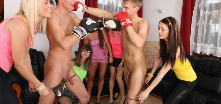 Hot CFNM teens undress and fuck 2 muscled boxers